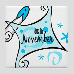 Due in November [Blue] Tile Coaster